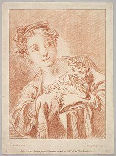 Louis Marin Bonnet (French, Paris, 1736–1793) - Girl and cat, 1769. The Metropolitan Museum of Art, New York