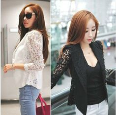 FREE SHIPPING 2013 New Top Coat Sexy Sheer Lace Blazer Lady Suit Outwear Women OL Formal Slim Jacket Black White M L B30 NZ022-in Basic Jack...