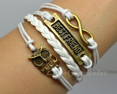 Hollow owl bracelet best friend bracelet by lovelybracelet on Etsy, $4.99