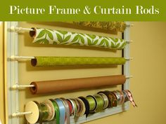 Alissa over at 33 Shades of Green re-purposed a frame and attached cafe-style curtain rods to it to create this clever organizer.