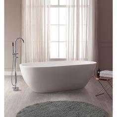Avanity VersaStone Flux Solid Surface Oval Bathtub (VersaStone 67 inches Flux Solid Surface Oval), White
