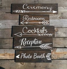 Five Wedding directional signs wedding by NaturalDesignsByRio, you may choose your own wording for each sign and purchase at our site! Choose from three wood colors to customize to your wedding decor! These are beautiful for outdoor, boho, rustic, or garden weddings.