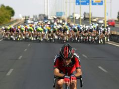 Marco Pinotti of BMC shortly before caught by the peloton during the 205,9 km-long seventh stage of the Spanish cycling tour Vuelta between Almendralejo and Mairena de Aljarafe, Seville