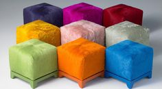 Ottomans in hair on hide will amazing colours