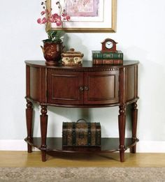 Brown Entry Table by Coaster This elaborate entry table is a lovely piece to welcome all your guests. A rich brown finish emanates a warmth that is comforting and calming, while intricate woodwork details add visual appeal. Four legs are traditional turned and supported by a lower inlay shelf... more details available at https://furniture.bestselleroutlets.com/entryway-furniture/entry-tables/product-review-for-brown-entry-table-by-coaster/