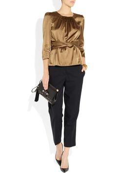 Burberry London|Stretch-silk satin top|NET-A-PORTER.COM