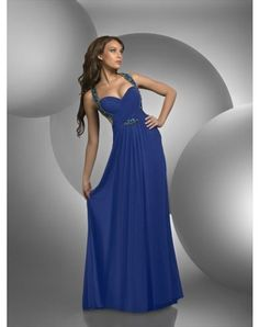 2012 Style A-line Straps Beading Sleeveless Floor-length Chiffon Prom Dresses / Evening Dresses (SZ0246591 )