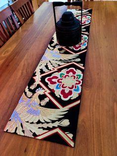 Vintage Japanese Obi Table Runner - Gold Phoenix & Flowers - x Japanese Quilt Patterns, Japanese Quilts, Japanese Fabric, Japanese Kimono, Japanese Home Decor, Patchwork Cushion, Asian Decor, Kimono Fashion, Vintage Japanese
