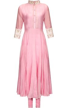 Baby pink chanderi anarkali suit set available only at Pernia's Pop Up Shop.