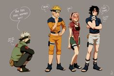 Team 7 at sixteen years old, dressed in their thirteen year old outfits. Anime Naruto, Naruto Fan Art, Naruto Comic, Kakashi Sensei, Naruto Sasuke Sakura, Naruto Cute, Naruto Shippuden Anime, Manga Anime, Naruto Girls
