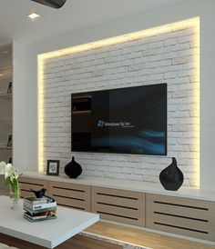 64 BEST TV WALL DESIGNS AND IDEAS - Page 20 of 64 The TV background wall mainly refers to the main wall in the living room and bedroom that reflects the decoration style. The position of the… Tv Cabinet Design, Tv Wall Design, Design Room, Ceiling Design, Ikea Living Room, Living Room Colors, Living Rooms, Deco Tv, Tv Feature Wall