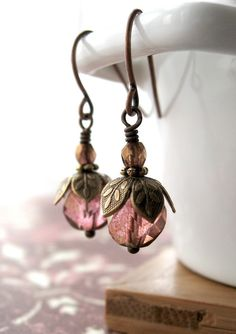 Blush Rose Bud Earrings, Faceted Victorian Pink Peach Glass Earrings, Small Vintage Style Earrings, Bridesmaid Jewelry, Gift for Gardener. $22.00, via Etsy.