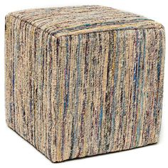 Paz Beige Sari Pouf Cube Ottoman - Overstock™ Shopping - Great Deals on Ottomans