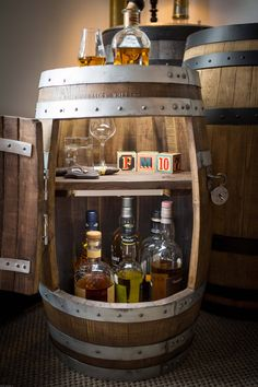 Items similar to Bar-rel - Small personalised barrel drinks cabinet on Etsy Barrel Bar, Barrel Table, Bourbon Barrel, Scotch Whisky, Bar Table Diy, Barrel Projects, Wood Projects, Whiskey Room, Wine Barrel Furniture