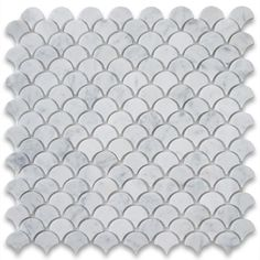 Carrara White Medium Fish Scale Fan Shaped Mosaic Tile Honed