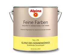 """Alpina Feine Farben """"Glanz des Sonnenkönigs"""":  Dieses strahlende Zitronengelb lebt diesen energievoll strahlenden Gelb-Ton mit selbstbewusster Überzeugung."""