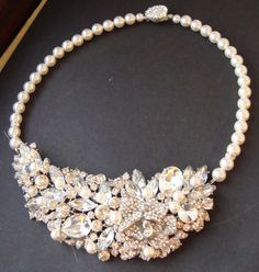 Rhinestone and Pearl Flower Bridal Necklace Crystal by luxedeluxe, $118.00 - In true Texan form, I wouldn't wear this with a wedding dress. I'd wear it with blue jeans.