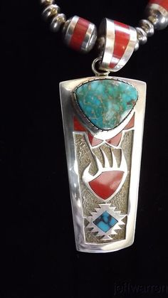 Navajo Michael Perry Royston Turquoise, Coral & SS Necklace ABSOLUTELY STUNNING!