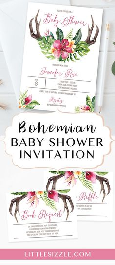 Bohemian baby shower invitation by LittleSizzle. Treat mom-to-be on a baby shower to remember with this boho chic baby shower invitation set with watercolor antler, green leaves and pink flowers. The invitation is perfect for any girl baby shower or a rus Invitation Fonts, Diy Invitations, Baby Shower Invitations, Invites, Birthday Party Decorations Diy, Baby Shower Decorations, Diy Party, Boho Baby Shower, Girl Shower