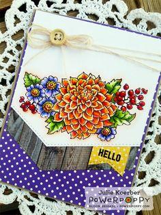 So Grateful stamp set by Power Poppy, card design by Julie Koerber.