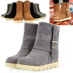 21025ea0e4c54 10.63 Women s Metal Buckles Shoes Flat Heel Short Boots Fur Suede Winter  Warm Boot Cheap