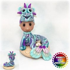 Polymer Clay Baby Sea Dragon - Cake Toppers, Jewelry Pendants, Ornaments, Figurines, Characters, Sculptures, Miniatures - Cute Collectible Whimsical - Kimmie's Clay Kreations