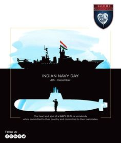 """One who conquers the ocean, conquers the world"""". Lets salute the courageous warriors of Indian Navy Ads Creative, Creative Posters, Creative Advertising, Armed Forces Flag Day, Indian Navy Day, Independence Day Wishes, Social Media Poster, Navy Logo, National Days"""