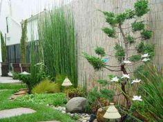 jardin zen avec clôture de bambou
