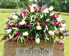 memorial grave decorations headstone saddle flowers for Grave Flowers, Cemetery Flowers, Funeral Flowers, Silk Flowers, Casket Flowers, Flowers For Mom, Dried Eucalyptus, Cemetery Decorations, Memorial Flowers