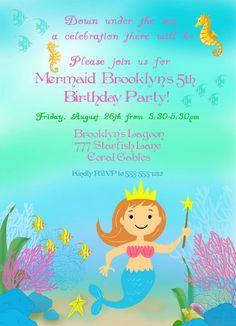 Mermaid Birthday Party Invitation  Magical by GwynnWassonDesigns, $15.00