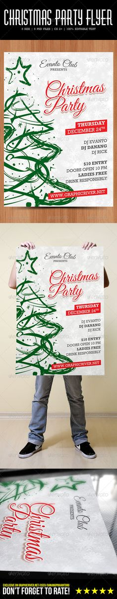 "bash, christmas, danang prihantoro, merry, minimalist, party, template, white, xmas, print-templates, flyers, events Christmas Party Flyer Looking for minimalist christmas flyer? Here the right place! Features Fully editable texts Well layered files 5 different size A4, A5, A6 with 3mm bleeds & trim marks 4"" x 6"", 8.5"" x 11"" with 1/8"" & trim marks Print ready CMYK colors 300 DPI Free font used Package Contents 5 layered photoshop file ( .psd) 1 readme file ( .txt) Font Used Great ..."