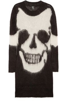 McQ Alexander McQueen|Skull-intarsia mohair-blend sweater dress. The only other fashion designer to understand punk.