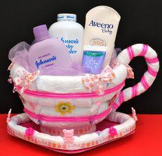Diaper Tea Cup. Great Baby Shower Gift