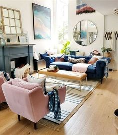 Exceptional small living room designs are available on our internet site. Have a look and you wont be sorry you did. Blue And Pink Living Room, Blush Living Room, Navy Living Rooms, Mid Century Modern Living Room, Living Room Chairs, Home Living Room, Apartment Living, Living Room Furniture, Lounge Chairs