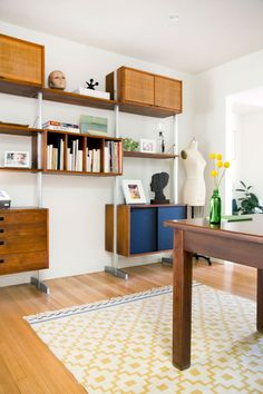 Allison Burke's Austin Home Renovation, Office space with vintage modular shelving