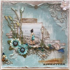 """Capturing the Adventure"" in blue and linen with pale brown."
