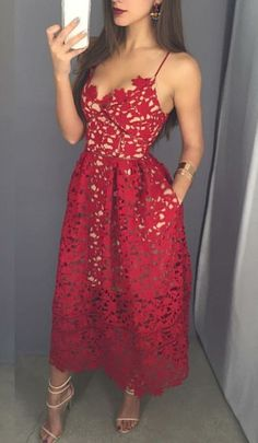 Red V-Neck Prom Dress,Chic Evening Dress,Party Dress,402