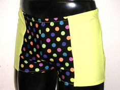 90c1e8a295c33 Mens Lycra Low Rise Hotpants/Shorts M MEDIUM 30-34 inch Neon Yellow Candy  Spots Spandex Club/Dance/Festival/Swim Theatre Stretch Sports Gym