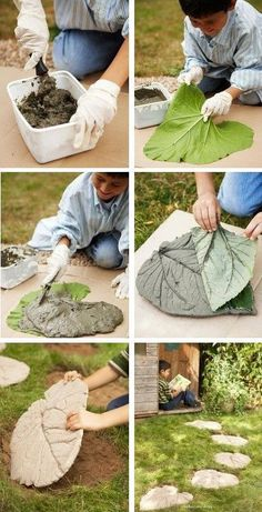 Concrete leaves - from idea to execution, .- Листья из бетона — от идеи до исполнения, Concrete leaves – from idea to execution, # concrete # ideas - Concrete Crafts, Concrete Projects, Concrete Garden, Concrete Planters, Outdoor Projects, Hand Planters, Wood Crafts, Garden Crafts, Diy Garden Decor