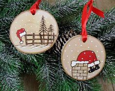 Santa Wood Burned Birch Slice Christmas Ornament Hand Burned Painted Set of 2