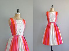 1950s cotton candy stripe vintage dress