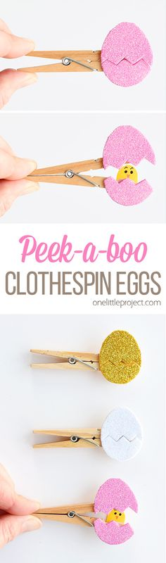 These peekaboo clothespin eggs are so easy to make and they look SO CUTE! Each one takes less than 5 minutes to make and they look adorable! They're an awesome low mess craft idea and are such an adorable Easter craft idea!! My kids loved seeing the surprise chick inside the egg!