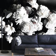 moody black and white mural floral wallpaper