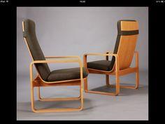 Rud Thygesen. Magnus Olesen. 1970. Oak bentwood lounge chairs.
