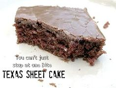 My husband and sons favorite cake! Grandma's Texas Sheet Cake is one of our all time favorites for feeding a large group and this amazing recipe is sure to leave your gang asking for seconds! Just Desserts, Delicious Desserts, Dessert Recipes, Yummy Food, Yummy Recipes, Recipies, Yummy Treats, Sweet Treats, Sheet Cake Recipes