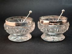 c1908 PAIR ANTIQUE EDWARDIAN SOLID SILVER & CUT GLASS SALTS, MATCHING SPOONS