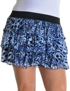 Plus size Blue And White Cheetah Print Skirt With Ruffles **FREE SHIPPING**$16.99