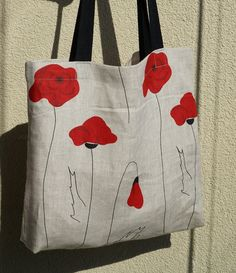 "Linen Shopping Bag"" Red Poppies"""