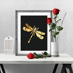 Really neat Gold Foil Dragonfly -  Wall Art Poster - Printable Poster - Digital Download - 300 DPI - 8 x 10 inches - PDF & JPEG 5.00 USD from BrandiLeaDesigns poster download printable poster instant download digital poster printable wall art digital print print download typography poster watercolor poster digital print poster black and white dragonfly gold and black http://ift.tt/1lE7MhX