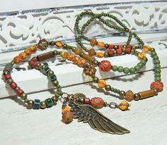 Charm- & Bettelketten - Bettelkette - GLAS - KERAMIK - FLÜGEL - - ein Designerstück von Kunterbuntes-Perlenspiel bei DaWanda